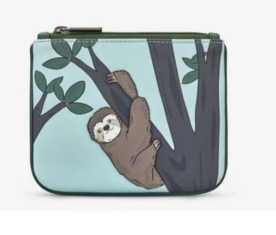 Sloth Zip Top Leather Purse by YOSHI
