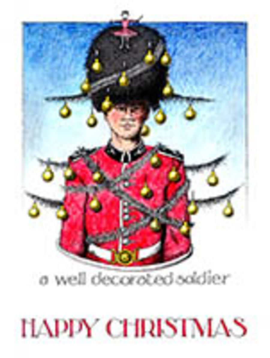 A well decorated soldier Card by Simon drew