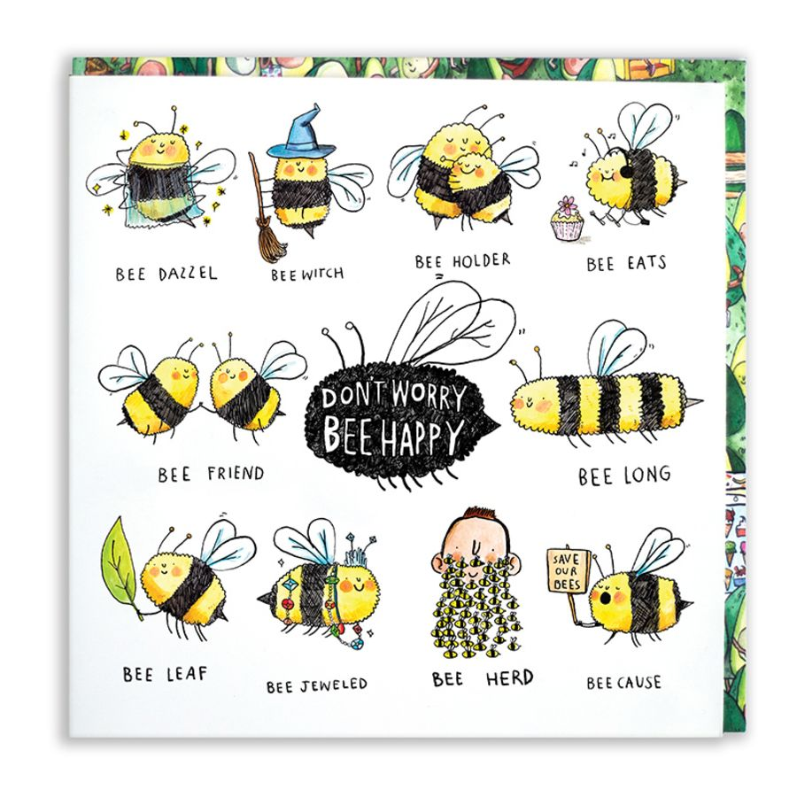Bee Happy Card by Jelly Armchair