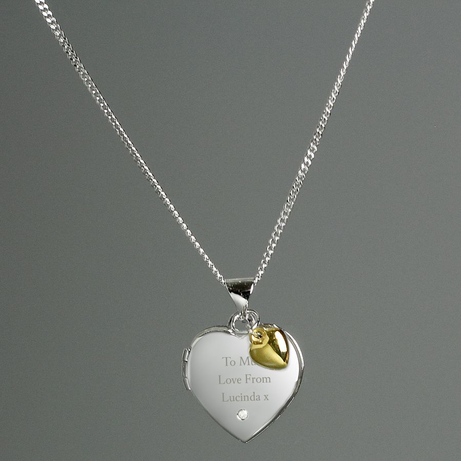 Personalised Sterling Silver Heart Locket Necklace with Diamond and Gold Plated Charm