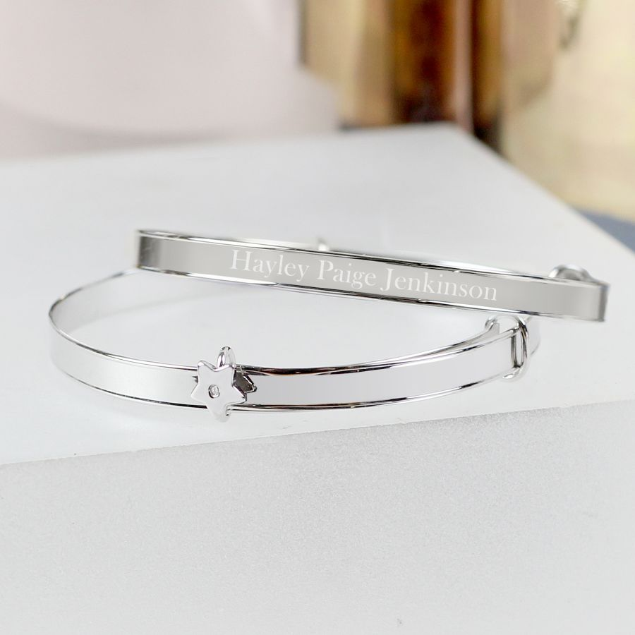 Personalised Sterling Silver Childs Expanding Bangle with Diamante Star