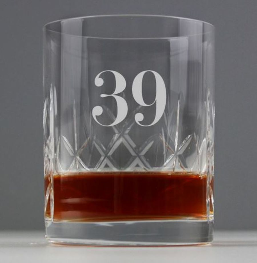 Personalised AGE Cut Crystal Glass Tumbler