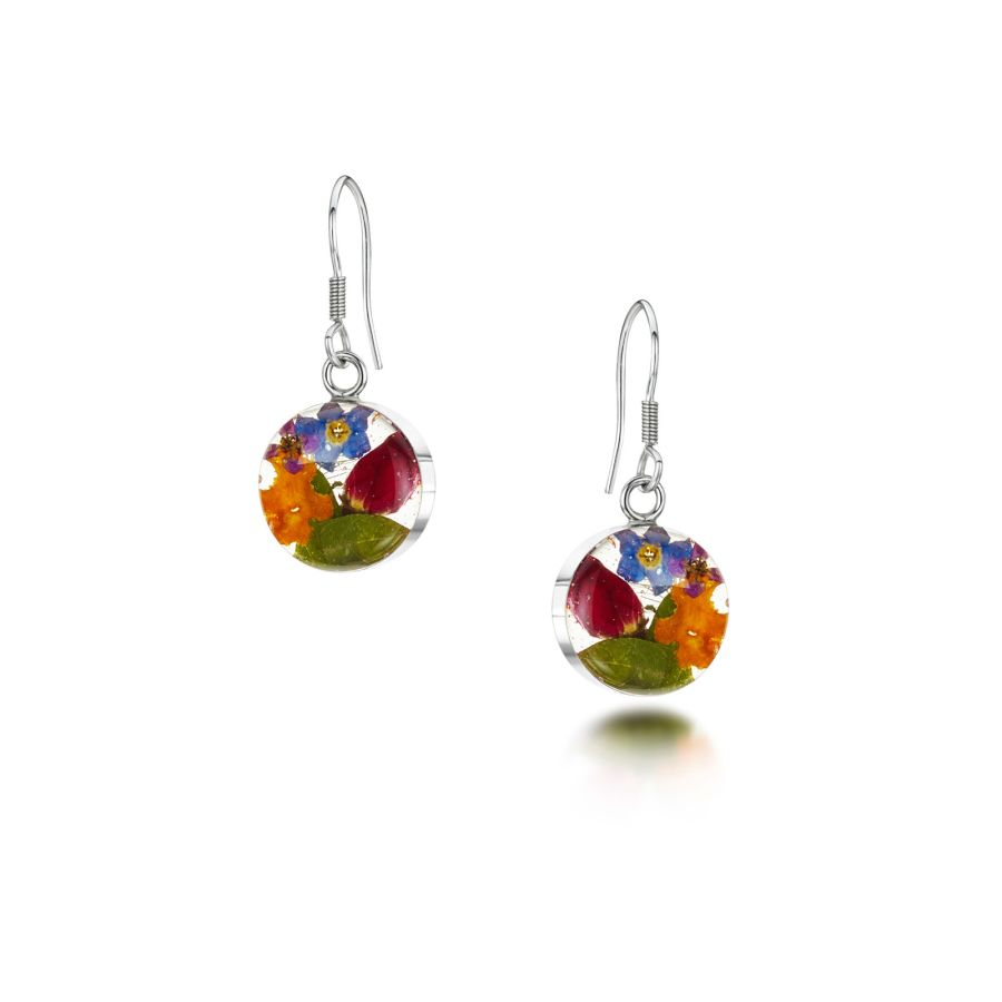 Silver Round Mixed Flowers Earrings