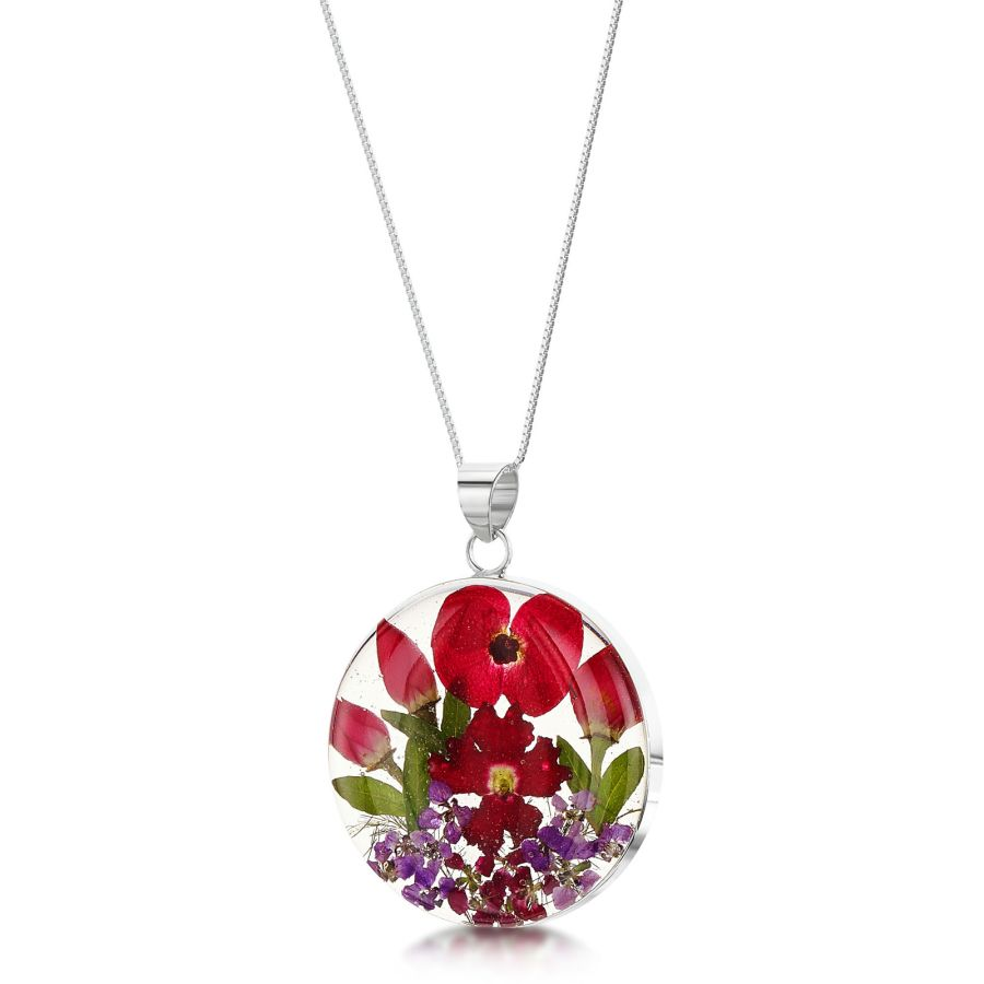 Sterling Silver necklace with real flowers by Shrieking Violet - Bohemia collection - Poppy & Rose