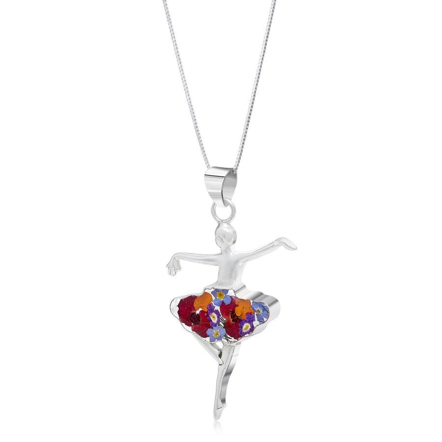 Silver Ballerina necklace with real flowers by Shrieking Violet