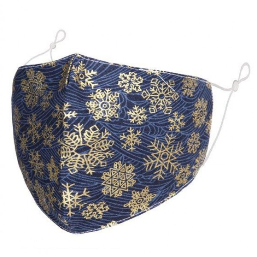 Christmas gold snowflakes pattern on blue fabric fashion Face Mask