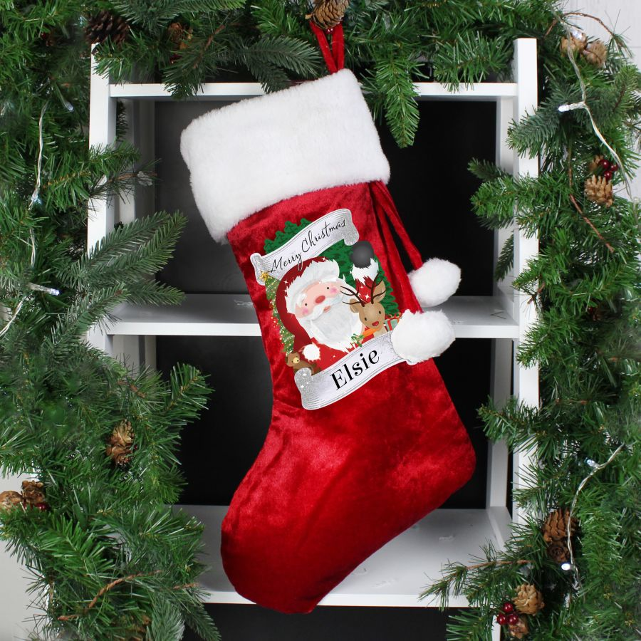 Personalised Christmas Santa Red Stocking ( 2 Designs )