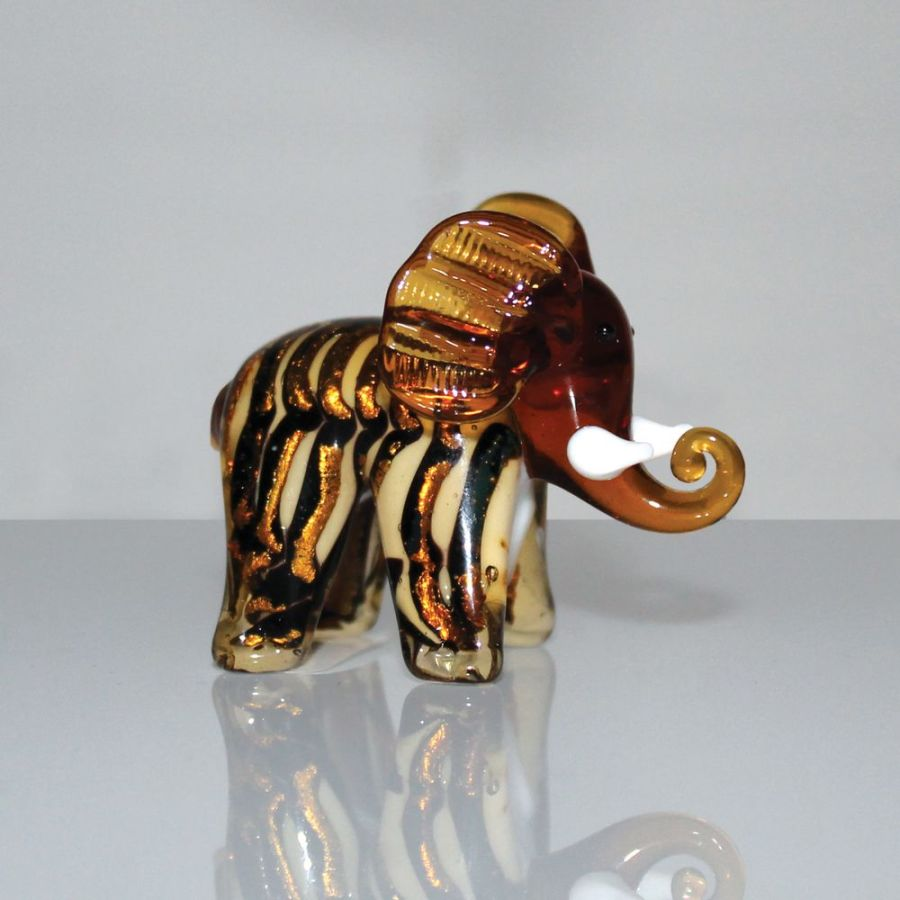 Brown Elephant Objets d'Art Miniature Glass Ornament