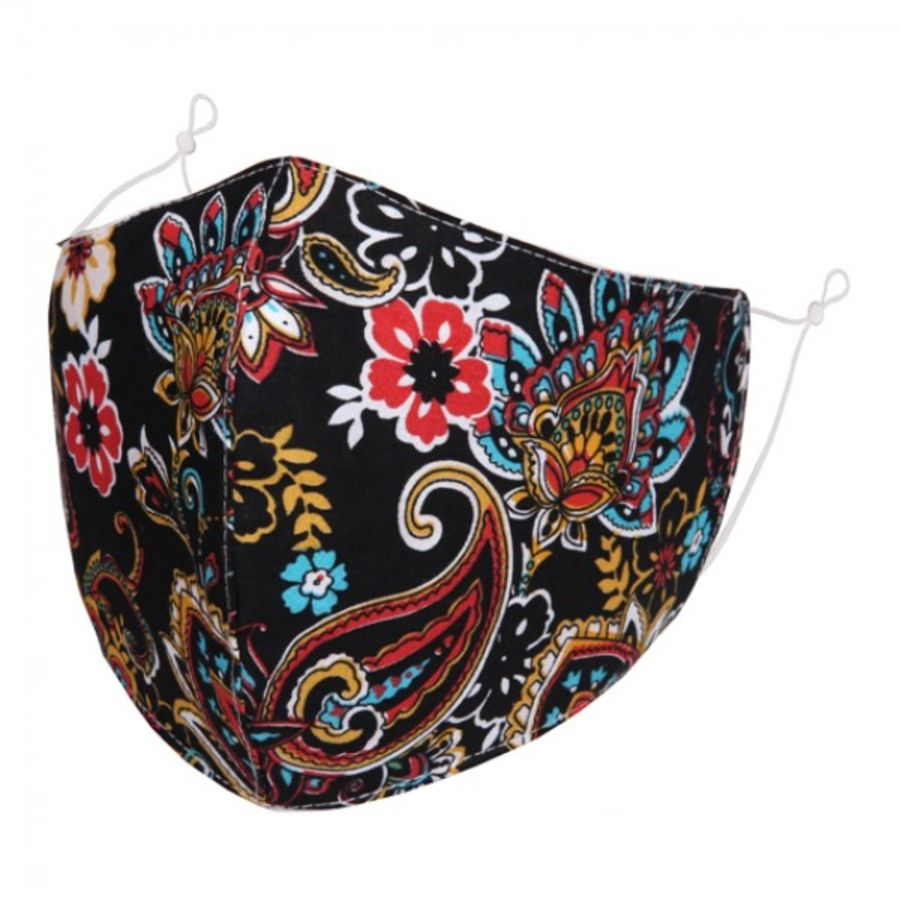 Colourful Paisley pattern on black fabric fashion face mask