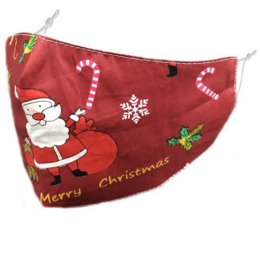 Christmas Santa, candy cane, snowflake & holly on burgundy fabric Fashion Face Mask