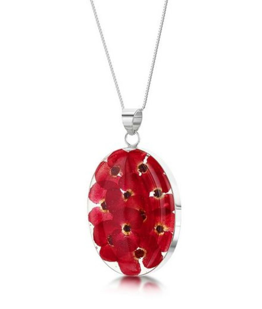 Poppy necklace by Shrieking Violet® Sterling Silver Oval Pendant