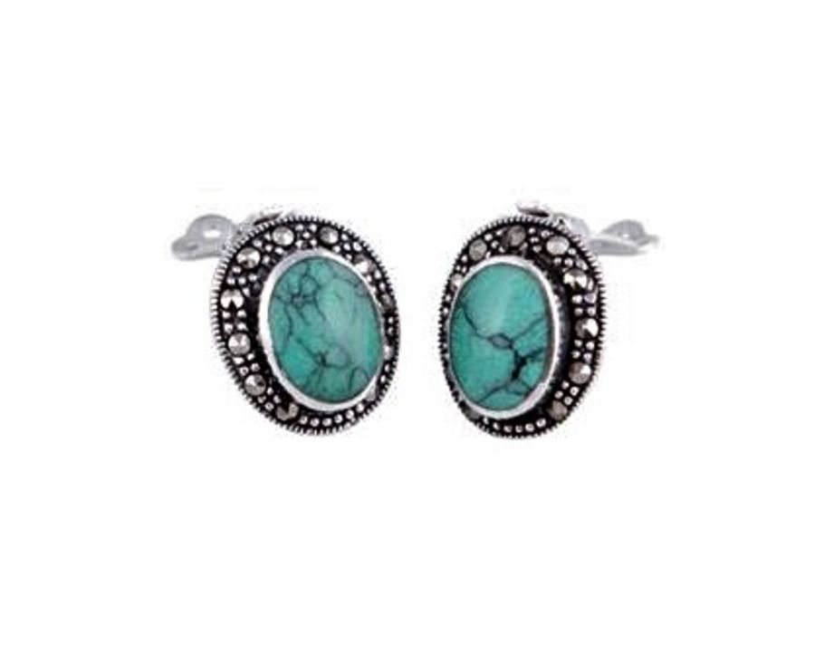925 sterling silver 'Clip-on' Earrings set with marcasites
