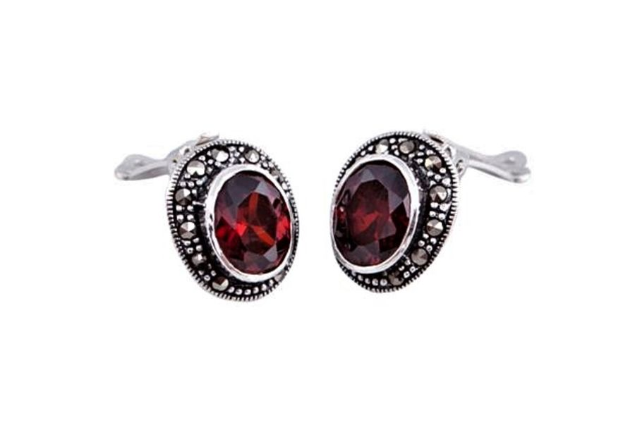 925 sterling silver 'Clip-on' Red CZ and Marcasites Earrings.