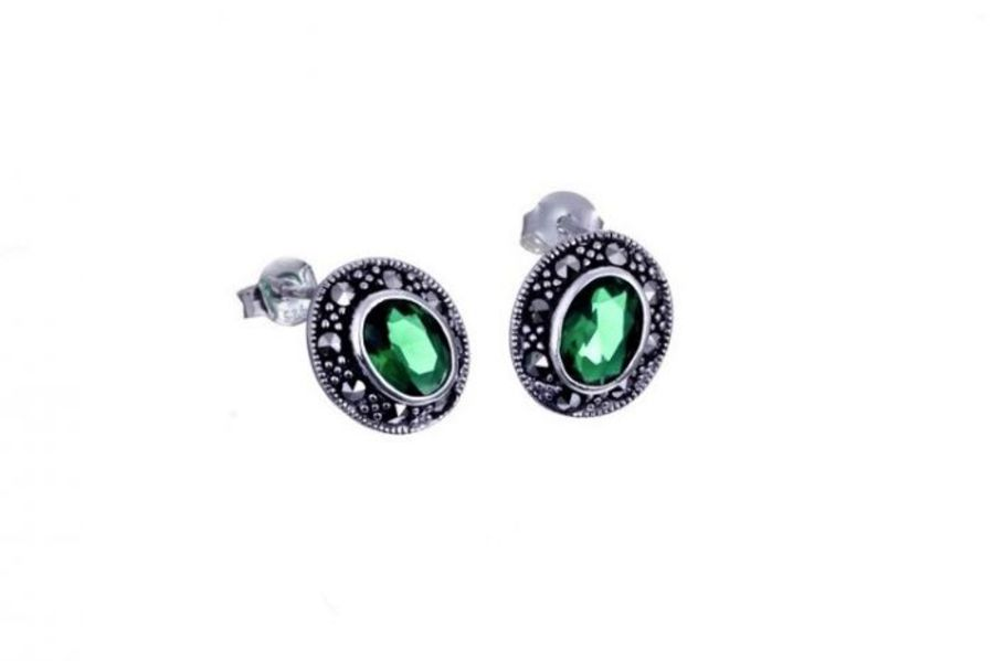 925 sterling silver Oval stud earrings set with CZ and Marcasites