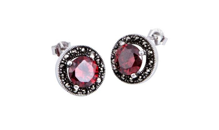 925 Silver & Marcasite CZ set Stud Earrings