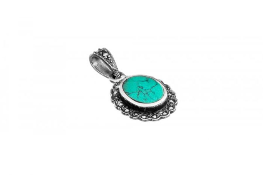 925 Silver Oval Faux Turquoise & Marcasite Pendant