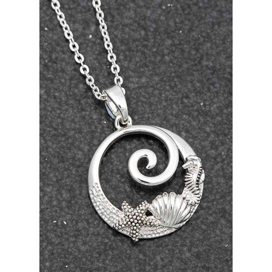 Silver Plated Wave Shell Seahorse Necklace