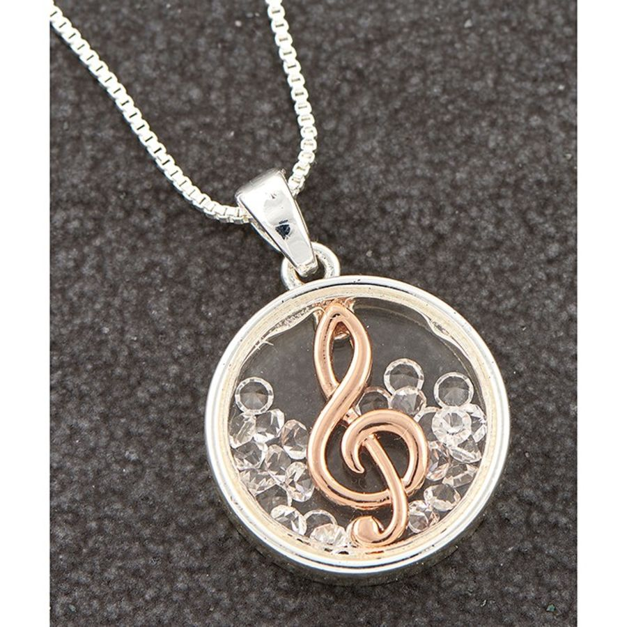 Two Tone Moving Clef Pendant & Chain