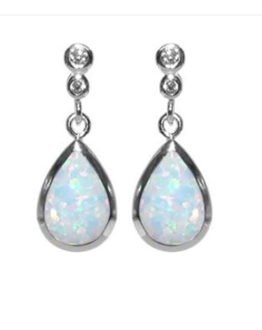 925 Silver Opalique & CZ Teardrop Earrings