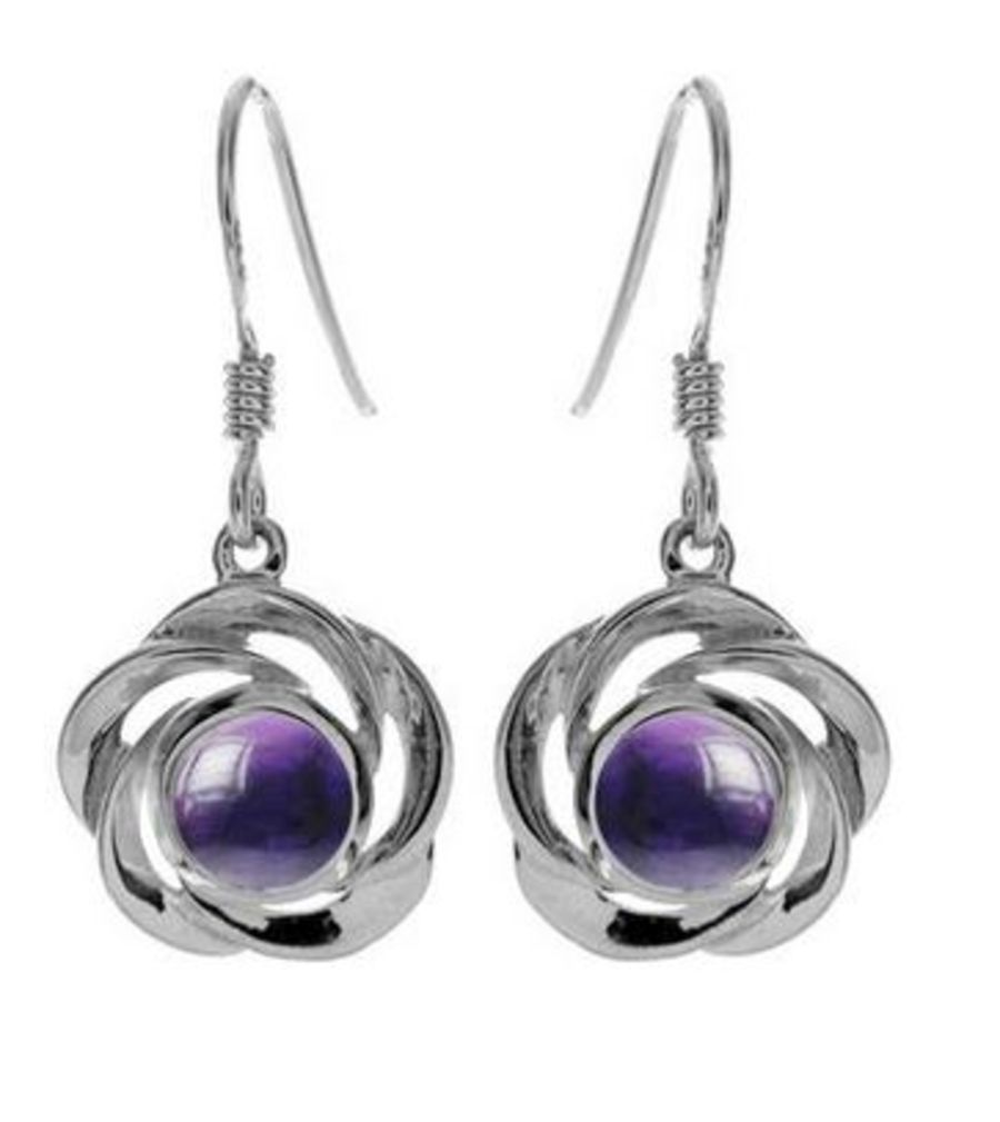 Open spiral petal 925 Silver Earrings with round Amethyst