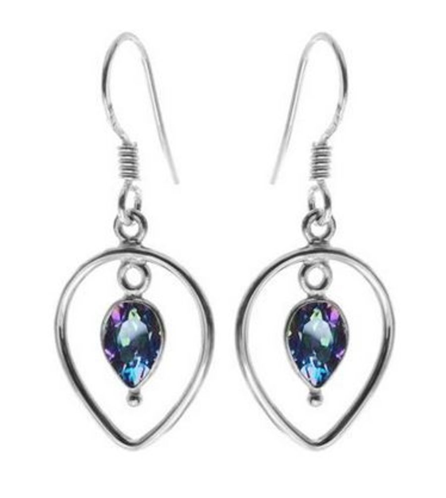925 Silver Faceted Mystic Topaz Earings