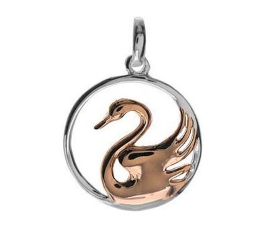 925 Silver & rose gold plated Swan Pendant and Chain