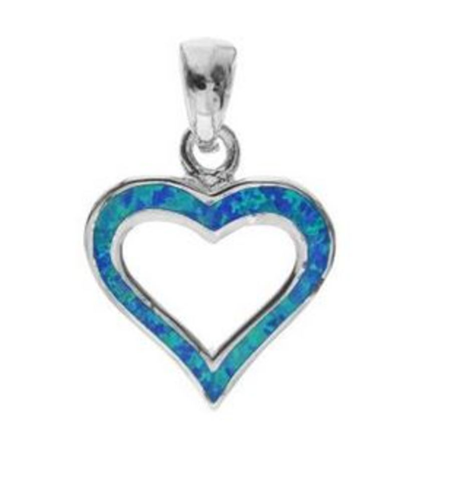 925 Silver & Opalique Heart Pendant and Chain