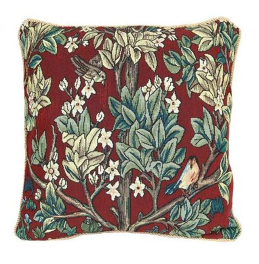 William Morris Tree of Life - Red Cushion Cover