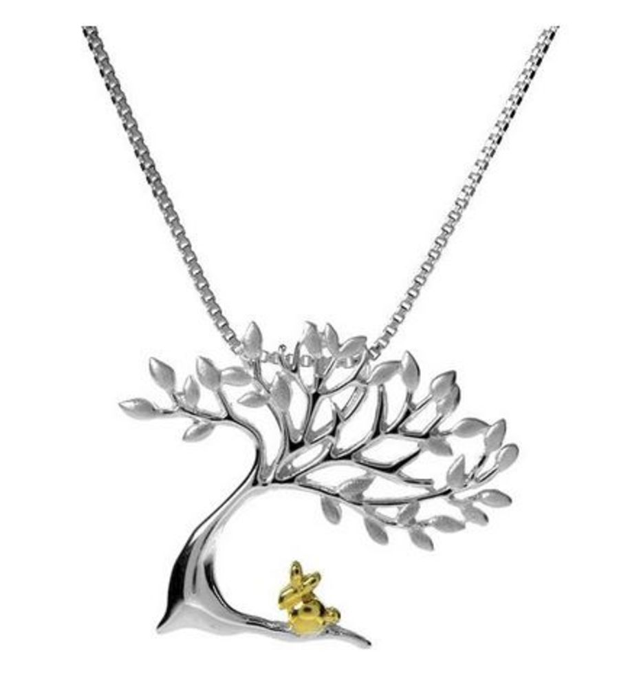 925 Silver Rabbit Under A Tree Pendant