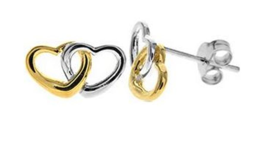 925 Silver Entwined Hearts Stud Earrings