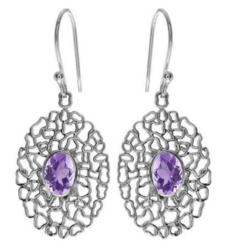 Elaborate wire-work 925 Silver Earrings with faceted Amethyst