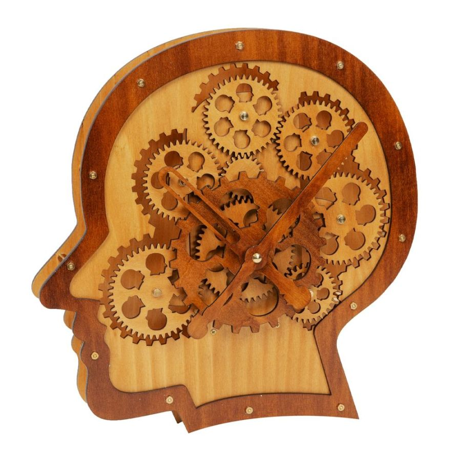 Moving Wooden Cogs Head Shaped Clock - HOMETIME®