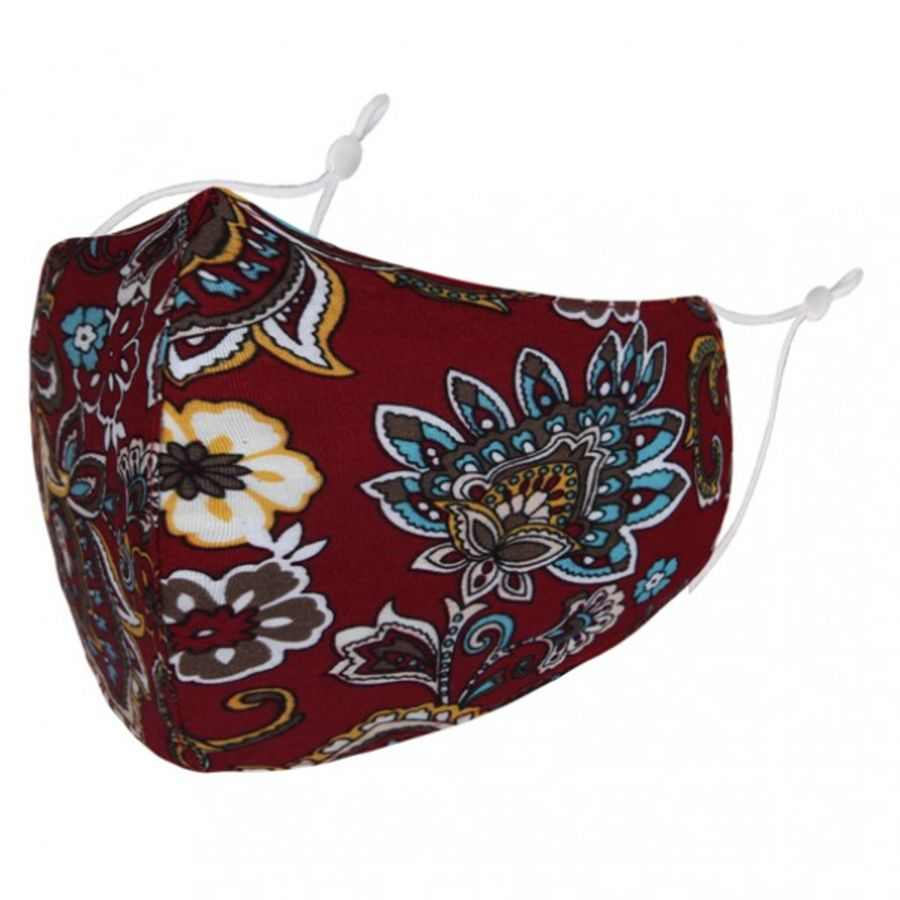 Floral Paisley pattern on dark red fabric fashion face mask/covering