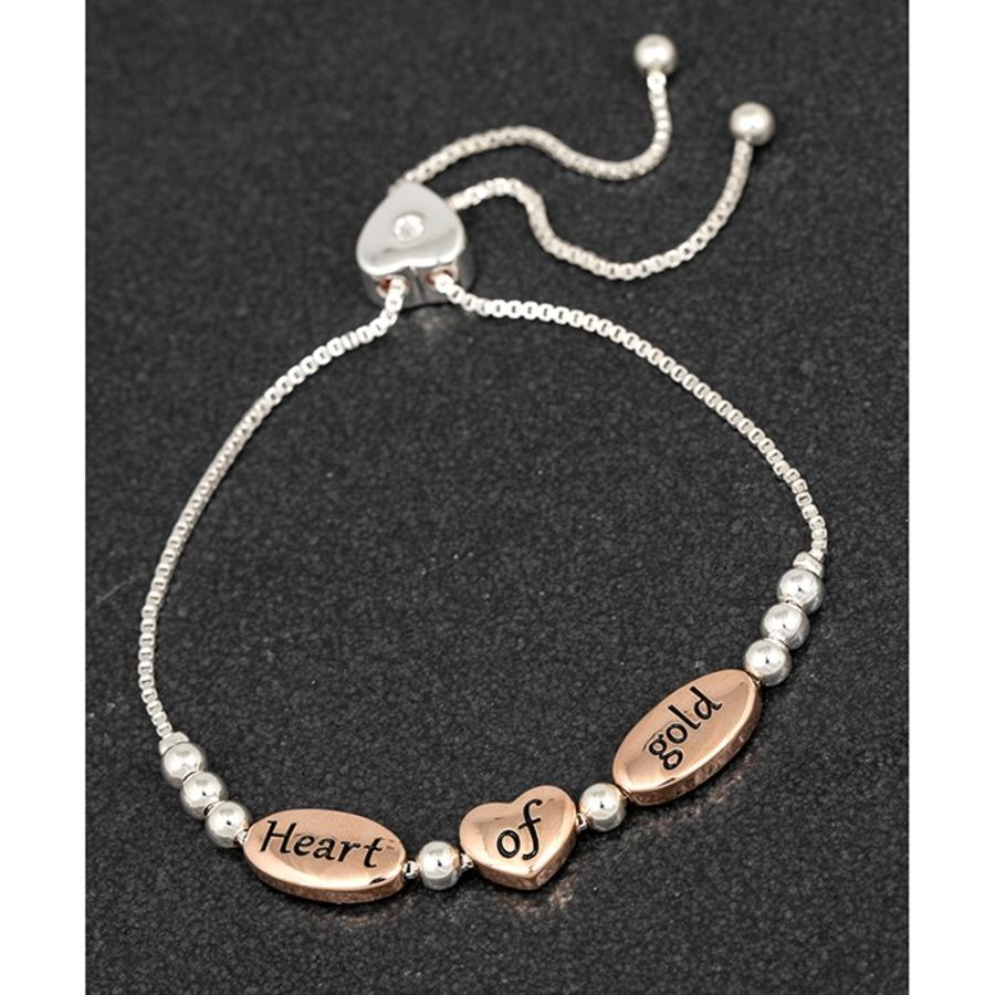 Heart of Gold Silver Plated Bracelet