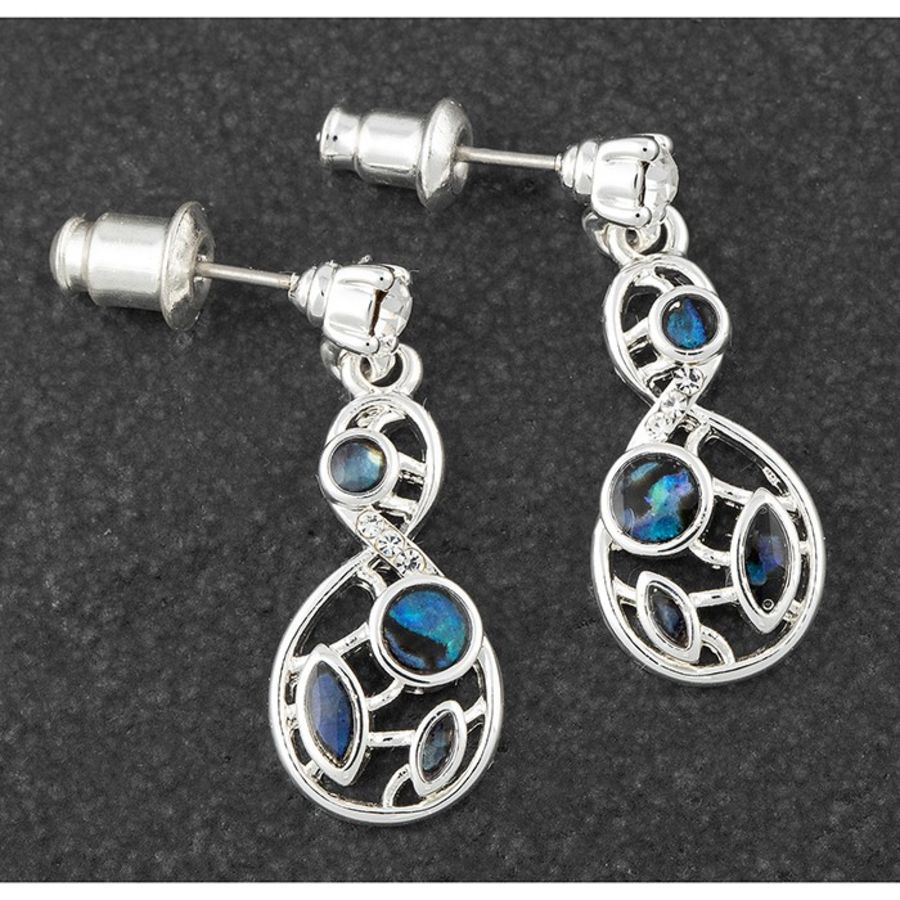 Mother of Pearl Inifinity Silver Plated Earrings