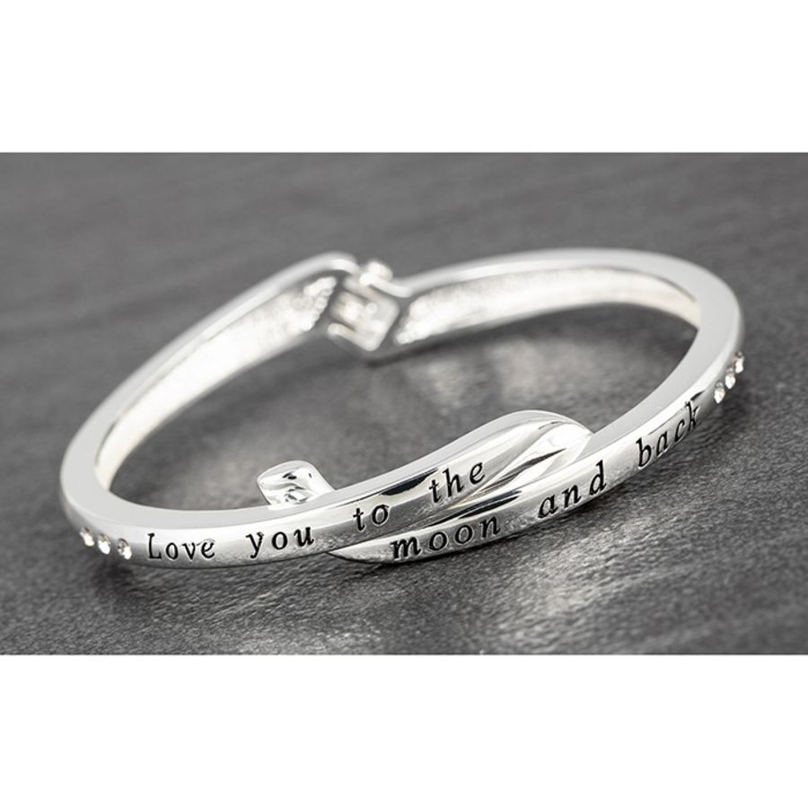 Silver Plated Crossover Bangle Love Moon