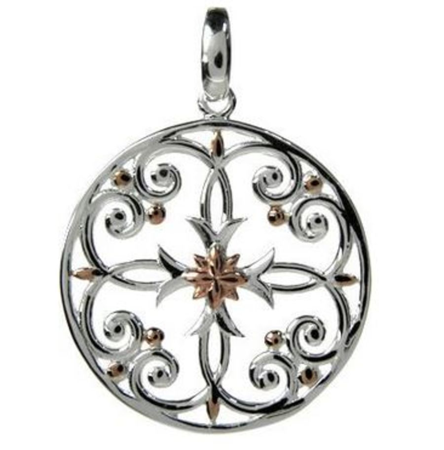 925 Silver Round Cross design Pendant & Chain