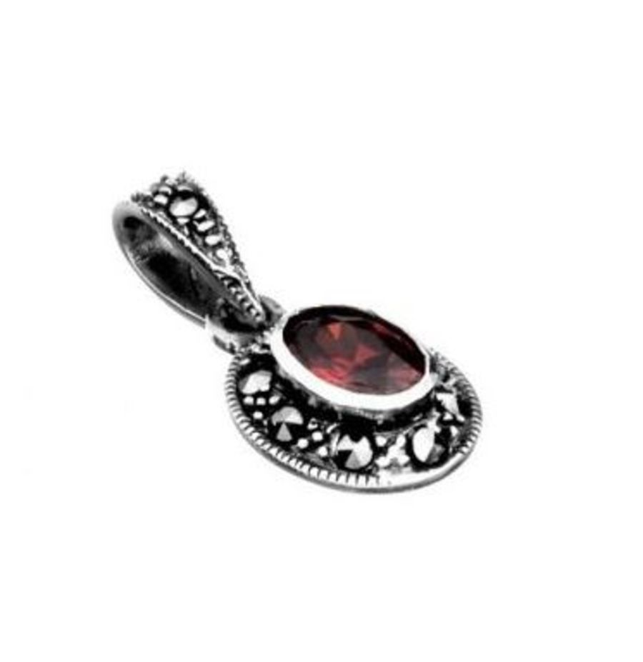 925 Silver Marcasite & Red CZ Pendant and Chain