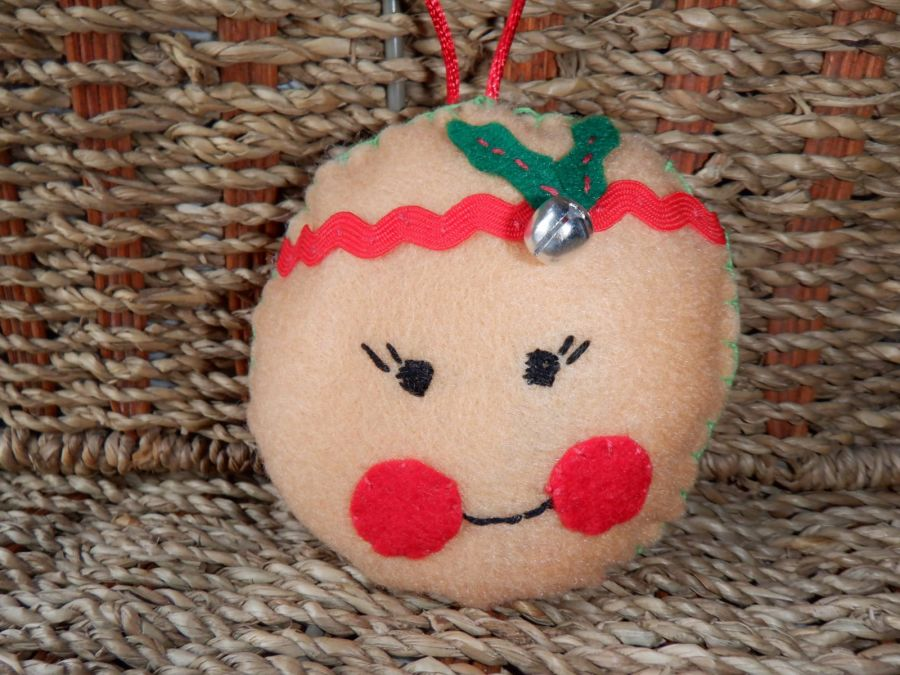 Handmade Felt Hanging Decoration - Round face with Bell & Holly
