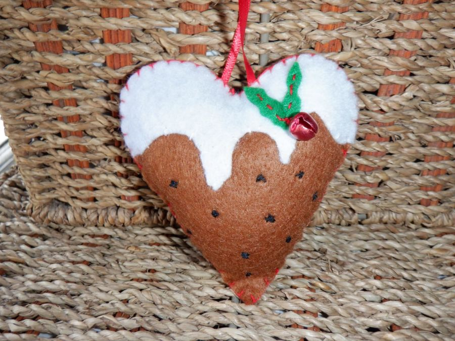 Handmade Felt Hanging Decoration - Heart with Bell and Holly