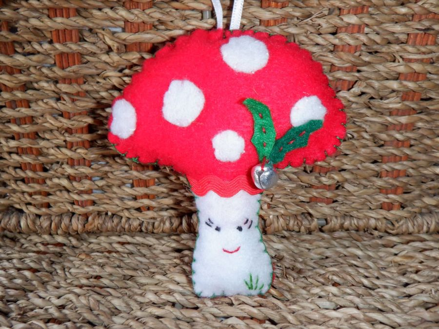 Handmade Felt Hanging Decoration - Toadstall with Face