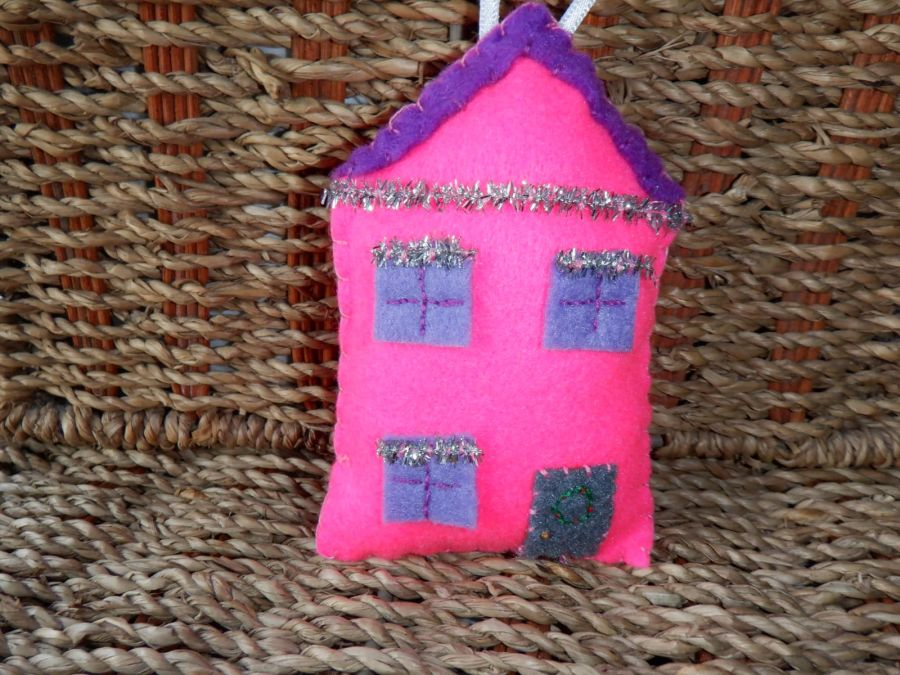Handmade Felt Hanging Decoration - Pink House