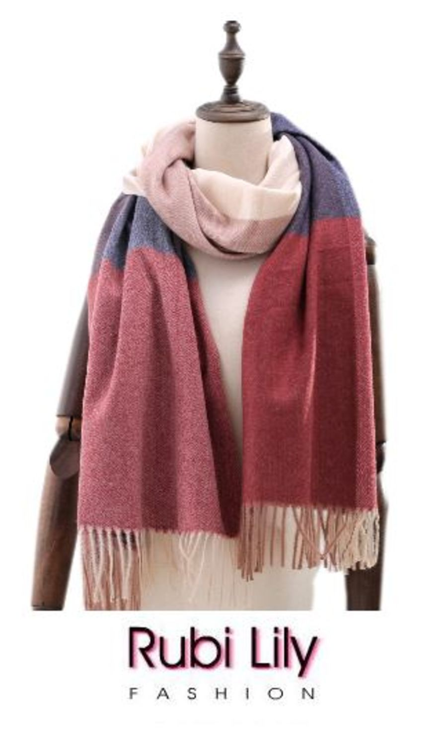 Cashmere Blended Scarf - Navy / Red