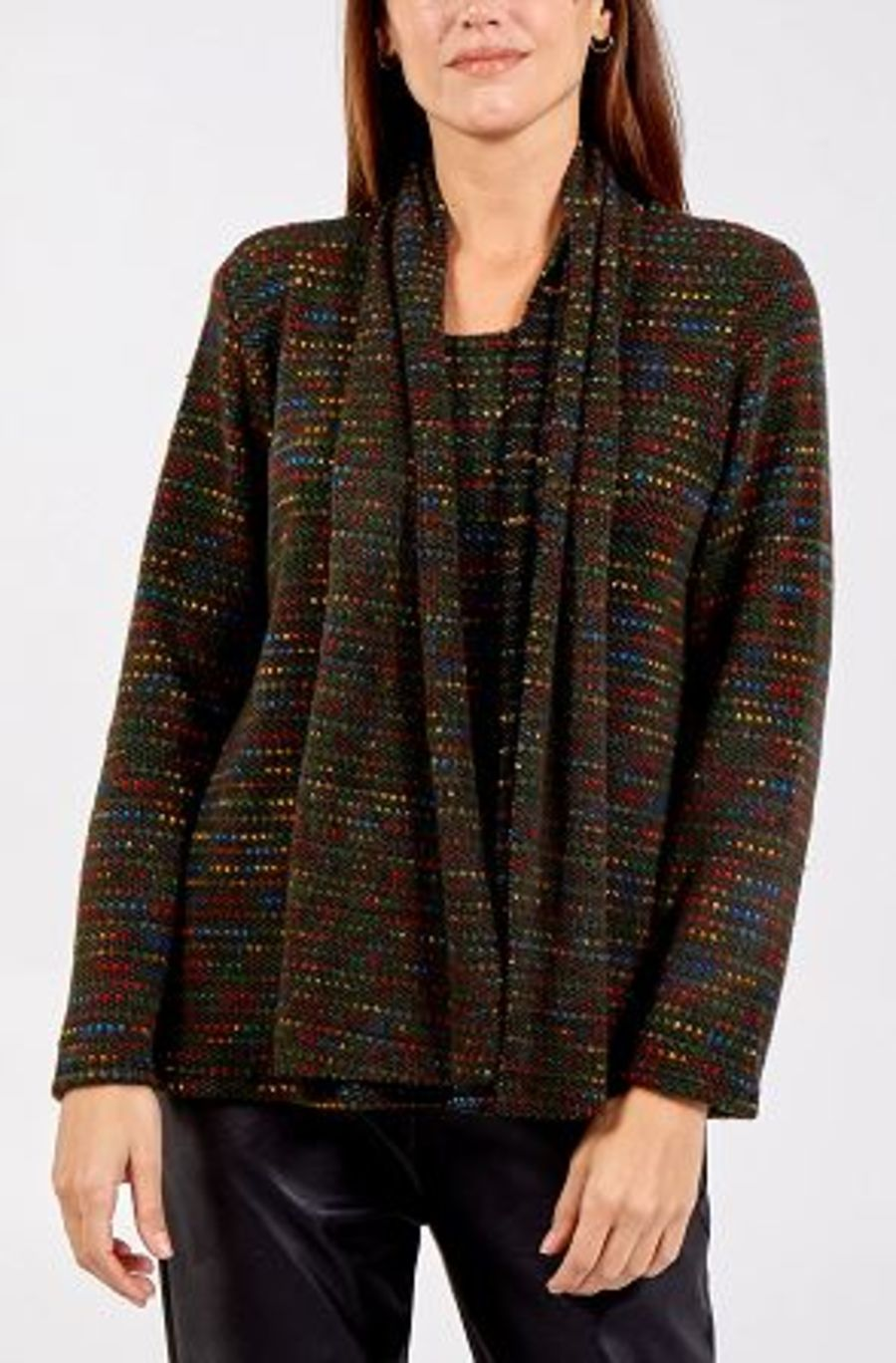 Long Sleeve Patterned Jumper With Scarf - Khaki