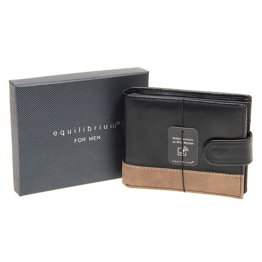 Gents Leather Wallet Black / Tan