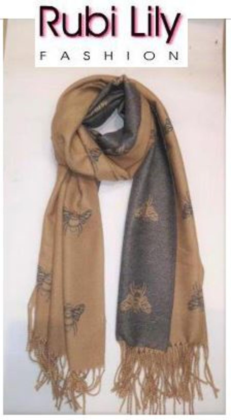 Reversible Bee Scarf – Camel