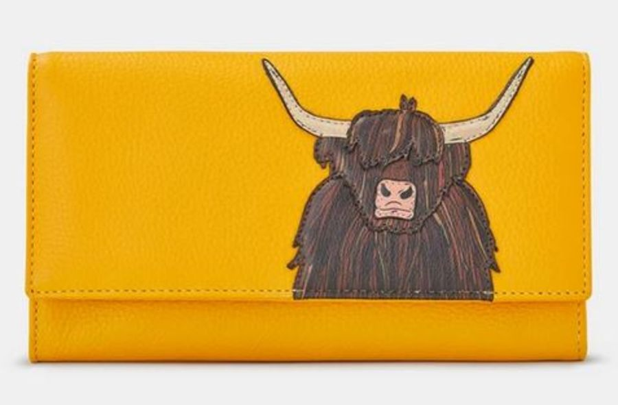 (SOLD OUT- PLEASE CHECK INSTORE) Highland Cow Yellow Leather Hudson Purse