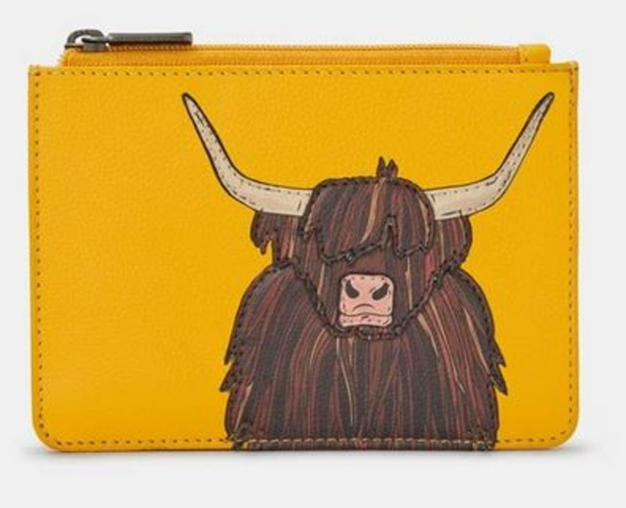 Highland Cow Yellow Leather Zip Top Purse