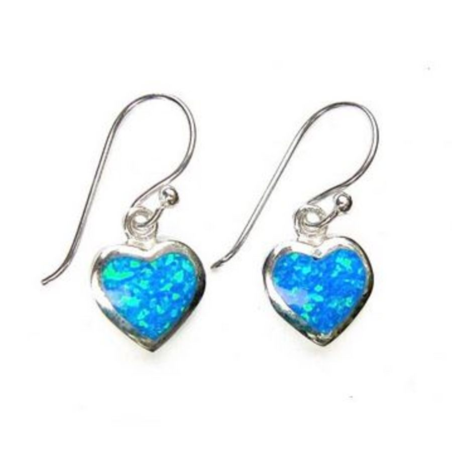925 Silver & Opalite Heart Earrings