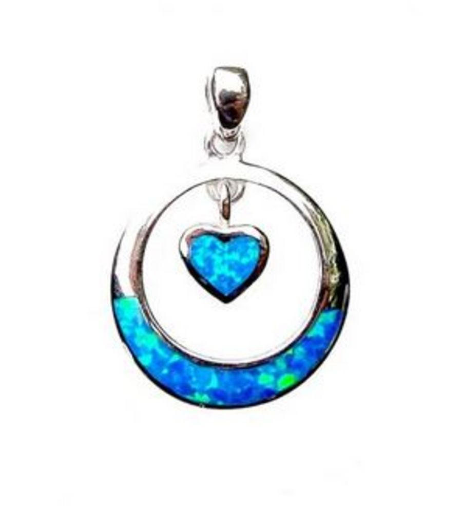 925 Silver Circle & Heart Pendant and Chain